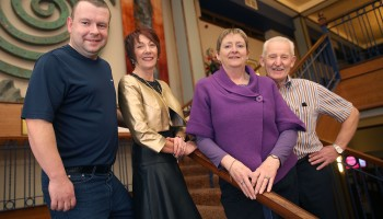 TCallling the Sets...John Dineen, Ann Mangan, Anne Keane and Pat O'Brien, who call the sets at every Céilí Mór at The Gathering, Annual Traditional Festival, a mix of live concerts, set dance classes, instrument workshops and lectures at The Gleneagle Hotel, Killarney