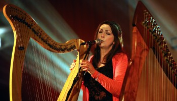 'First Lady of Celtic Music' Moya Brennan in concert at The Gathering, Annual Traditional Festival, a mix of live concerts, set dance classes, instrument workshops and lectures at The Gleneagle Hotel, Killarney