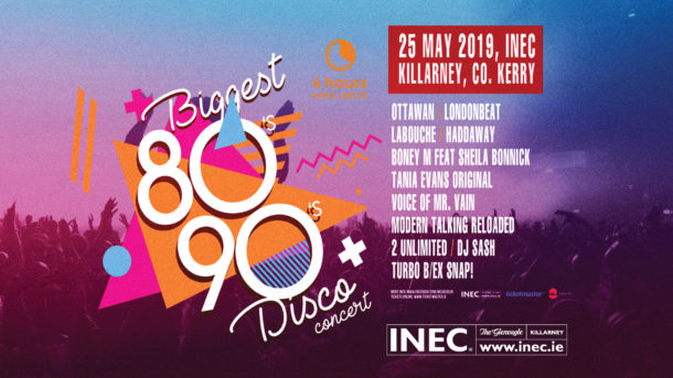 Biggest 80's & 90's concert and disco comes to the INEC KIllarney